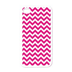 Hot Pink And White Zigzag Apple Iphone 4 Case (white) by Zandiepants