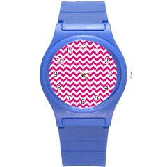 Hot Pink And White Zigzag Plastic Sport Watch (small) by Zandiepants