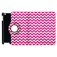 Hot Pink And White Zigzag Apple Ipad 3/4 Flip 360 Case by Zandiepants
