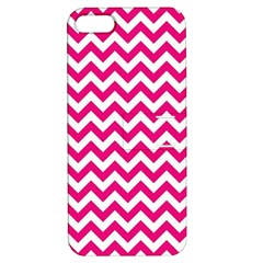 Hot Pink And White Zigzag Apple Iphone 5 Hardshell Case With Stand by Zandiepants