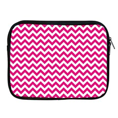 Hot Pink And White Zigzag Apple Ipad Zippered Sleeve by Zandiepants