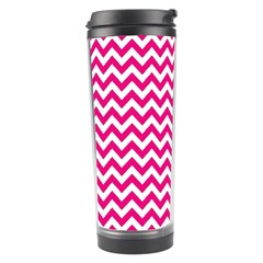 Hot Pink And White Zigzag Travel Tumbler by Zandiepants
