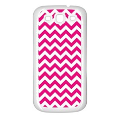 Hot Pink And White Zigzag Samsung Galaxy S3 Back Case (white) by Zandiepants