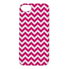 Hot Pink And White Zigzag Apple Iphone 5s Hardshell Case by Zandiepants