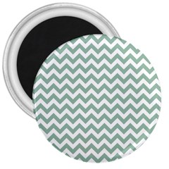 Jade Green And White Zigzag 3  Button Magnet by Zandiepants