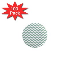 Jade Green And White Zigzag 1  Mini Button Magnet (100 Pack) by Zandiepants