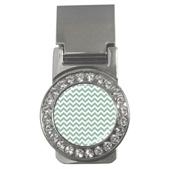 Jade Green And White Zigzag Money Clip (cz) by Zandiepants