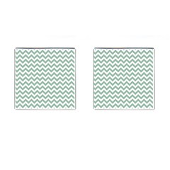 Jade Green And White Zigzag Cufflinks (square) by Zandiepants