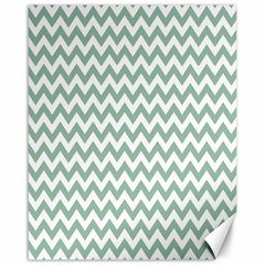 Jade Green And White Zigzag Canvas 16  X 20  (unframed) by Zandiepants