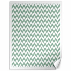 Jade Green And White Zigzag Canvas 36  X 48  (unframed) by Zandiepants