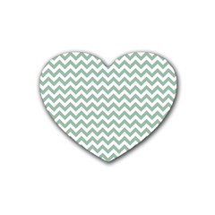 Jade Green And White Zigzag Drink Coasters 4 Pack (heart)  by Zandiepants