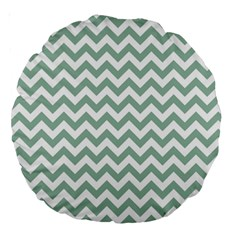 Jade Green And White Zigzag 18  Premium Round Cushion  by Zandiepants