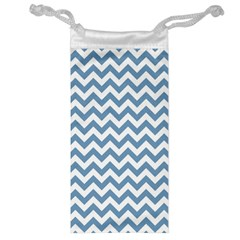 Blue And White Zigzag Jewelry Bag by Zandiepants