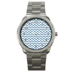 Blue And White Zigzag Sport Metal Watch by Zandiepants
