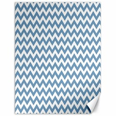 Blue And White Zigzag Canvas 18  X 24  (unframed) by Zandiepants