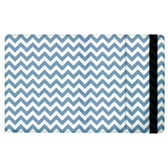 Blue And White Zigzag Apple Ipad 2 Flip Case by Zandiepants
