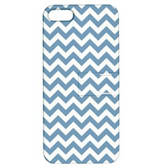 Blue And White Zigzag Apple Iphone 5 Hardshell Case With Stand by Zandiepants