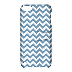 Blue And White Zigzag Apple Ipod Touch 5 Hardshell Case With Stand by Zandiepants