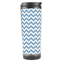 Blue And White Zigzag Travel Tumbler by Zandiepants
