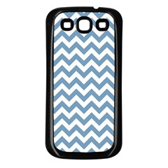 Blue And White Zigzag Samsung Galaxy S3 Back Case (black) by Zandiepants
