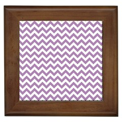 Lilac And White Zigzag Framed Ceramic Tile by Zandiepants