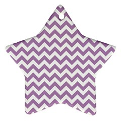 Lilac And White Zigzag Star Ornament (two Sides) by Zandiepants