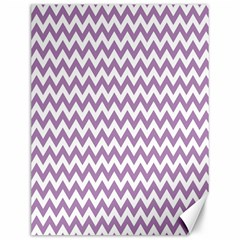 Lilac And White Zigzag Canvas 12  X 16  (unframed) by Zandiepants