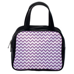 Lilac And White Zigzag Classic Handbag (one Side) by Zandiepants