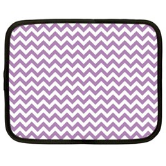 Lilac And White Zigzag Netbook Sleeve (xl) by Zandiepants