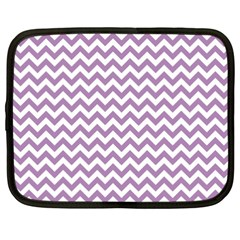 Lilac And White Zigzag Netbook Sleeve (xxl) by Zandiepants