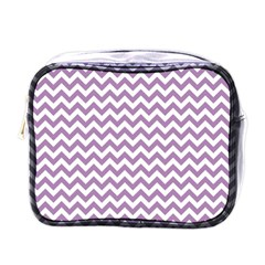 Lilac And White Zigzag Mini Travel Toiletry Bag (one Side) by Zandiepants