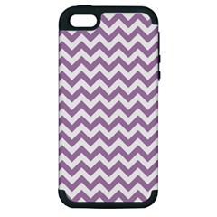 Lilac And White Zigzag Apple Iphone 5 Hardshell Case (pc+silicone) by Zandiepants