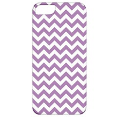Lilac And White Zigzag Apple Iphone 5 Classic Hardshell Case by Zandiepants