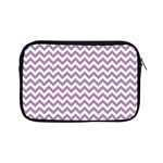 Lilac And White Zigzag Apple iPad Mini Zippered Sleeve Front