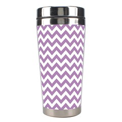 Lilac And White Zigzag Stainless Steel Travel Tumbler by Zandiepants