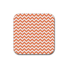 Orange And White Zigzag Drink Coaster (square) by Zandiepants