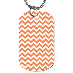 Orange And White Zigzag Dog Tag (one Sided) by Zandiepants