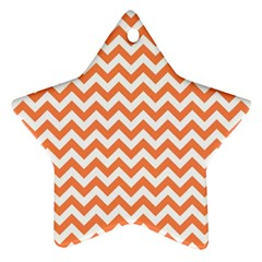 Orange And White Zigzag Star Ornament (two Sides) by Zandiepants