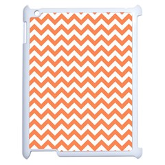 Orange And White Zigzag Apple Ipad 2 Case (white) by Zandiepants