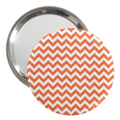 Orange And White Zigzag 3  Handbag Mirror by Zandiepants