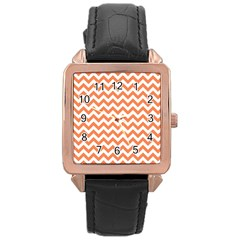 Orange And White Zigzag Rose Gold Leather Watch  by Zandiepants