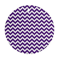 Purple And White Zigzag Pattern Round Ornament