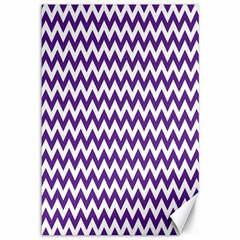 Purple And White Zigzag Pattern Canvas 12  X 18  (unframed) by Zandiepants