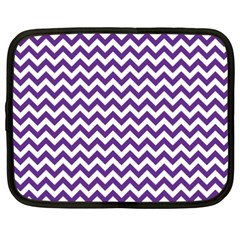 Purple And White Zigzag Pattern Netbook Sleeve (xxl) by Zandiepants