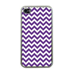 Purple And White Zigzag Pattern Apple Iphone 4 Case (clear) by Zandiepants