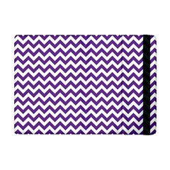 Purple And White Zigzag Pattern Apple Ipad Mini Flip Case by Zandiepants