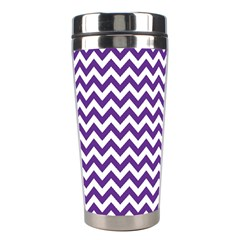 Purple And White Zigzag Pattern Stainless Steel Travel Tumbler by Zandiepants