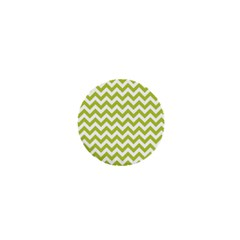Spring Green And White Zigzag Pattern 1  Mini Button by Zandiepants