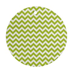 Spring Green And White Zigzag Pattern Round Ornament by Zandiepants
