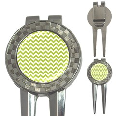 Spring Green And White Zigzag Pattern Golf Pitchfork & Ball Marker by Zandiepants